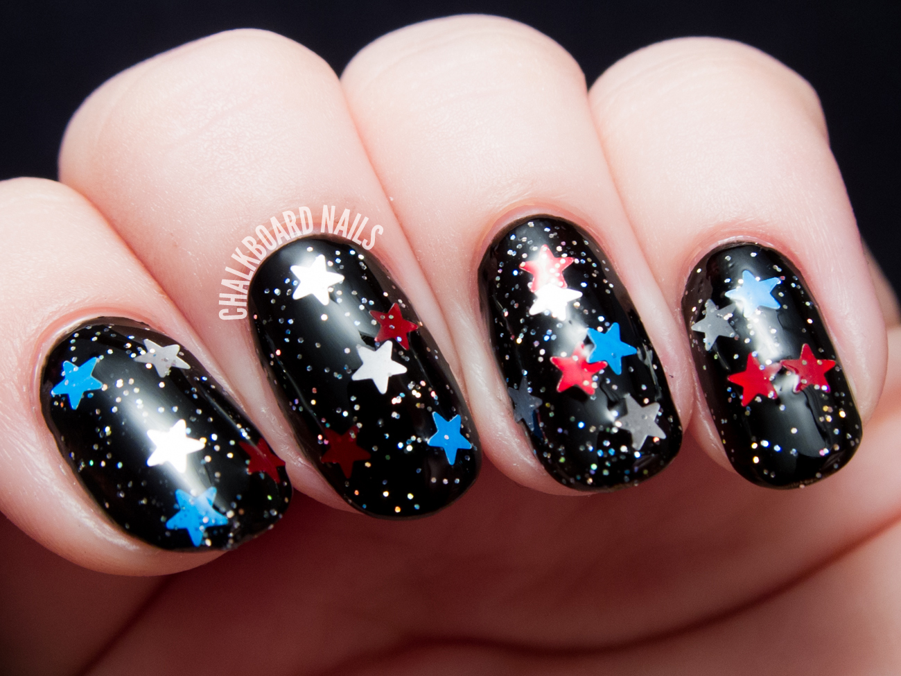 Starred Striped Features Matte Red And White Bar Glitters Blue Stars Its Like A Deconstructed American Flag Lots Of Fun