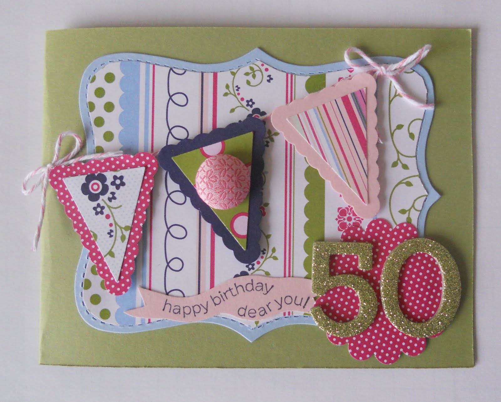 Front Row Friends Pennant Punch 50th Birthday Card