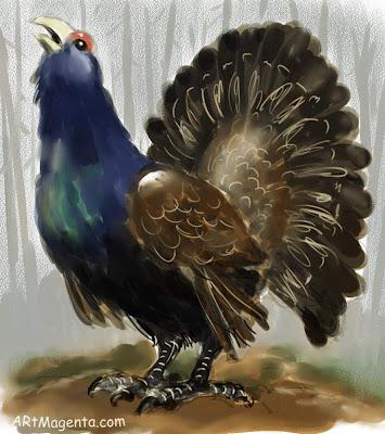 Tjäder är en fågelmålning av Artmagenta.