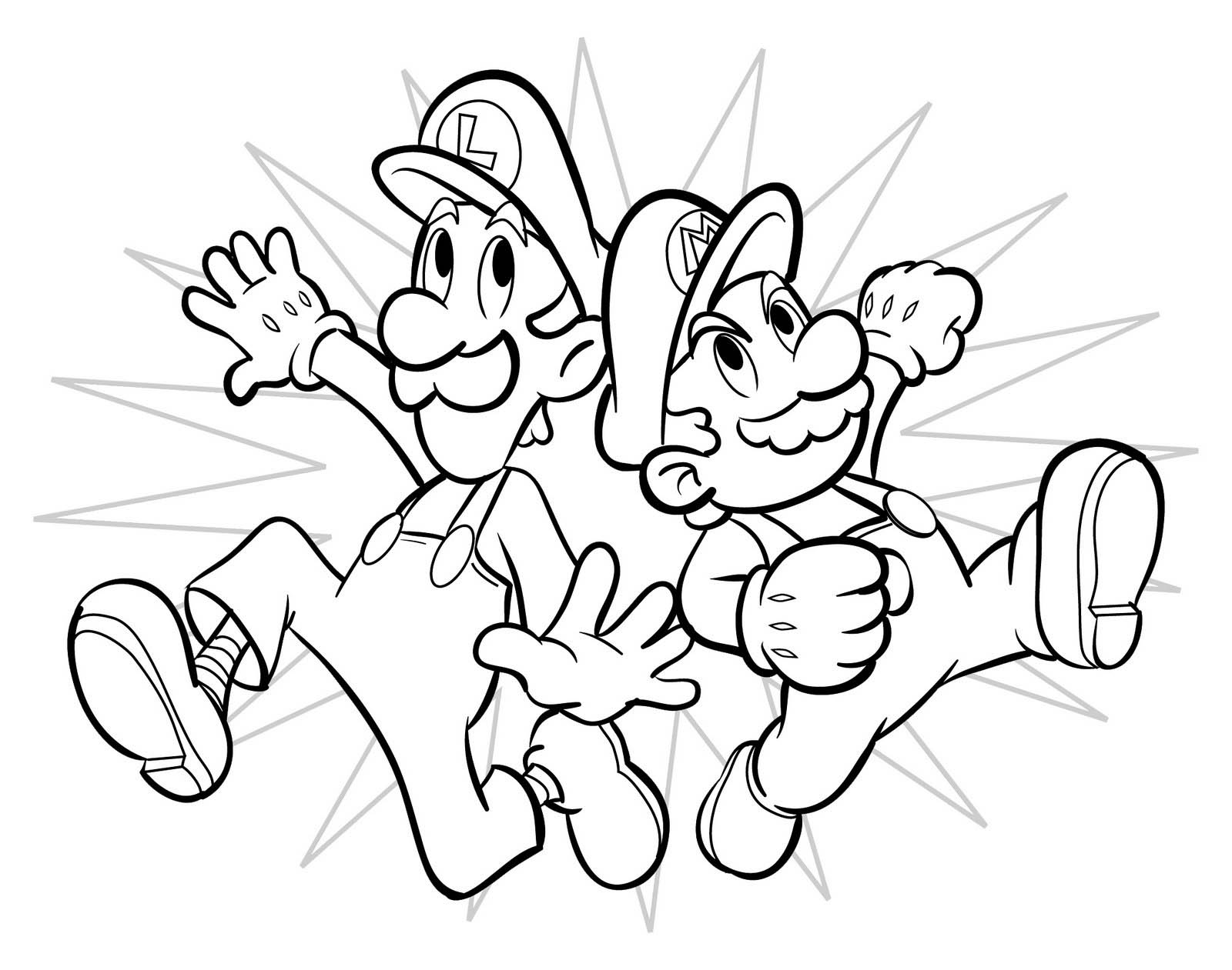 Luigi and Mario Coloring Pages