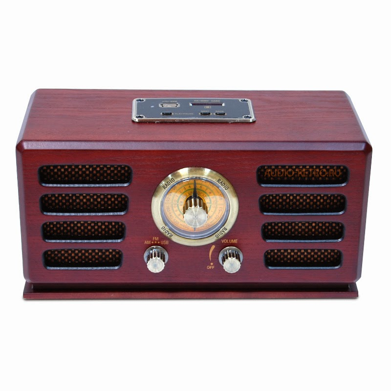 Ретро приемник с MP3 плеером и SD-MMC R-200 вишня (cherry) в деревянном корпусе стилизованный под ретро стиль и функцией чтения SD-карт