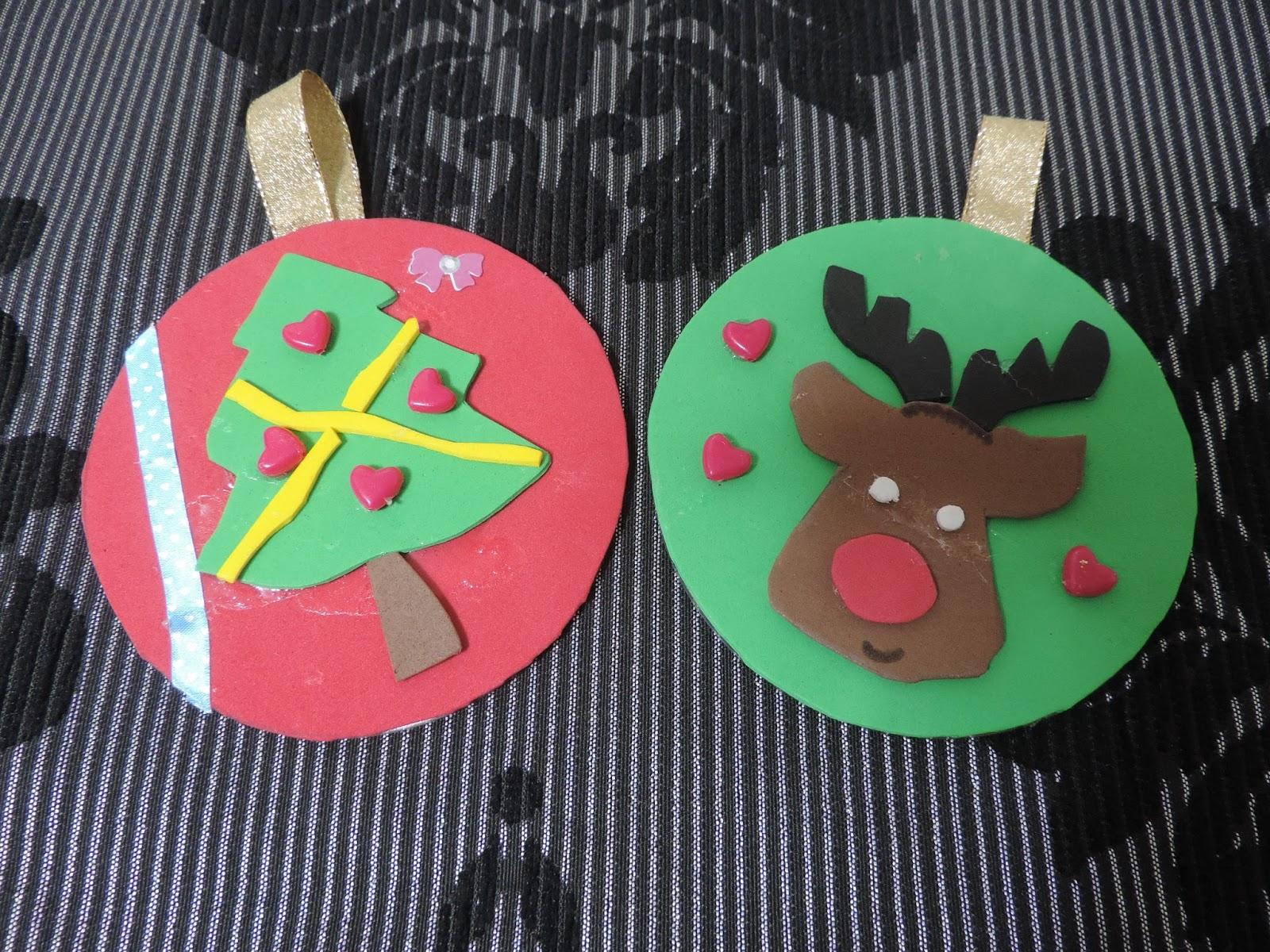 Cosas de cari adornos de navidad con cd s reciclados y - Adornos reciclados para navidad ...