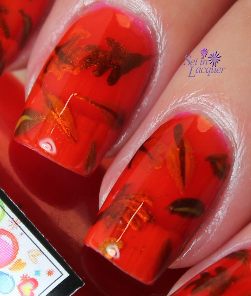 Fall nail art - falling leaves