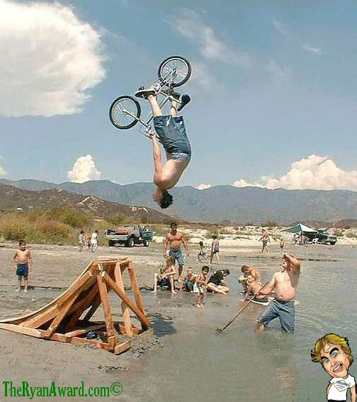 Mid Air BMX Bike jump into water