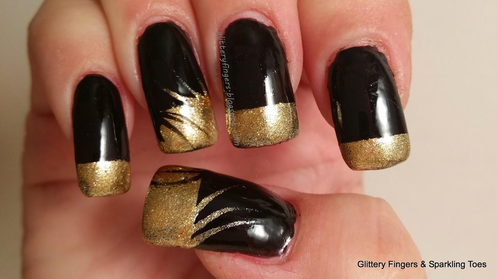 Дизайн ногтей черный красный с золотом фото