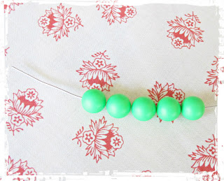 image diy funky neon necklace tutorial bar swarovski crystal pearl green thread beads onto the wire