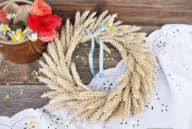 pszenica, kłosy zbóż, lato, wianek, letni wianek, dożynki