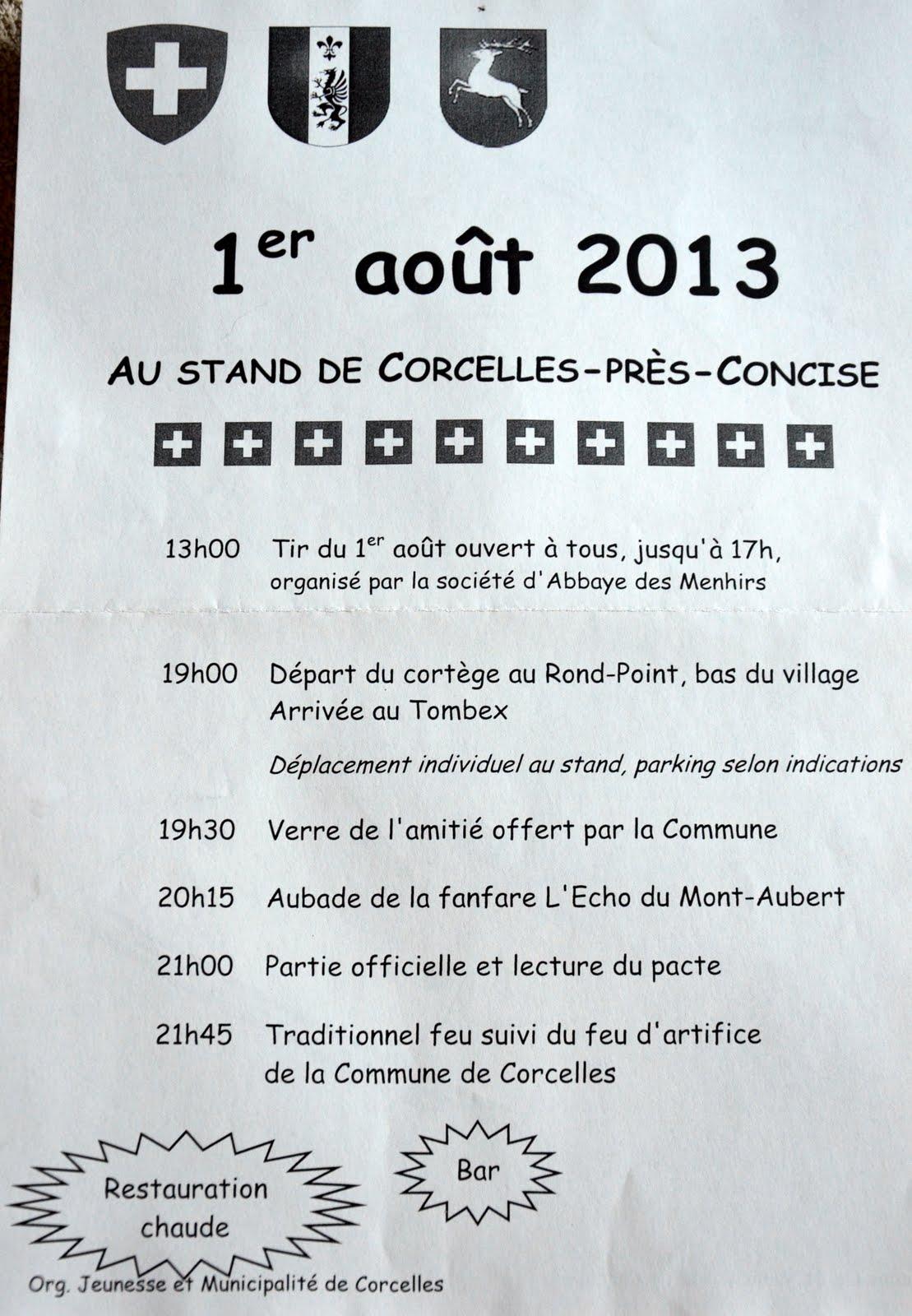 programme 1er août 2013 Concise Corcelles-près-Concise