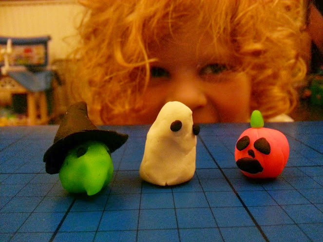 Pay-Doh Halloween models by 4 year old witch ghost pumpkin
