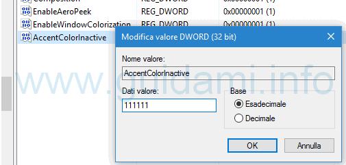 Aggiungere dati valore colore finestre inattive Windows 10