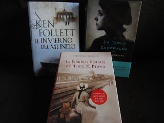Libros El invierno del mundo, La tabla esmeralda y La fabulosa historia de Henry N. Brown