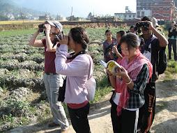 Enjoying the gifts of binoculars and guidebooks...