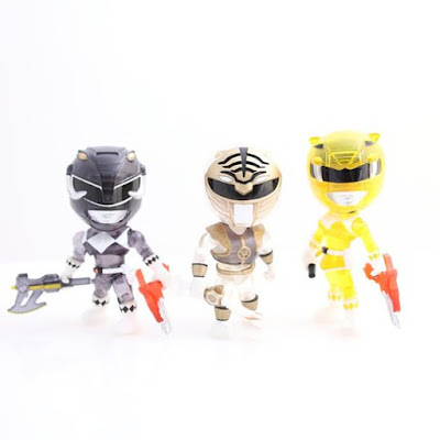 "Hastings Exclusive Mighty Morphin Power Rangers ""Crystal Edition"" Heroes Mini Vinyl Figure 3 Pack by The Loyal Subjects - White Ranger, Black Ranger & Yellow Ranger"