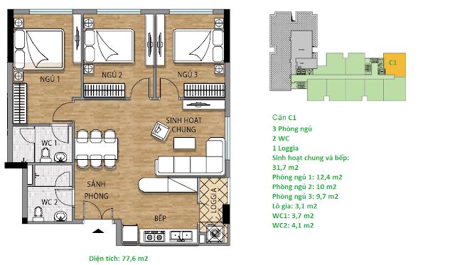 Căn hộ C1 77,6 m2 tầng 7 chung cư Valencia Garden