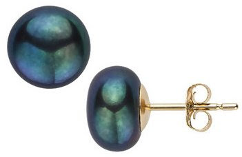 Black Button Cultured Pearl 14K Gold Earrings