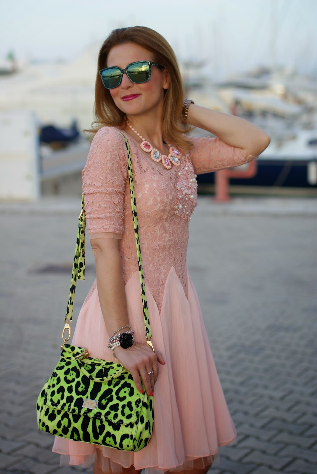 cichic ballerina dress, pink dress, Miss Sicily green bag, Fashion and Cookies, fashion blogger