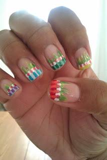 Spring, grass, Skittles, nail art, mani