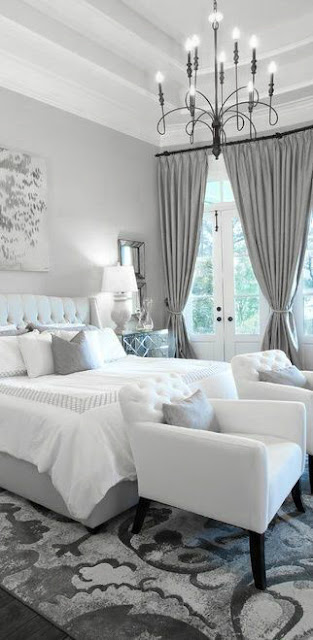 Elegant Grey and White Master Bedroom