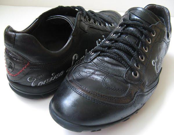Vtg Lamborghini Black Leather Casual Sneaker Shoes Nice
