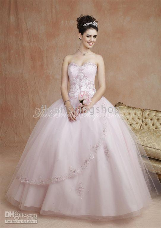 wedding addict light pink wedding dress in modest style