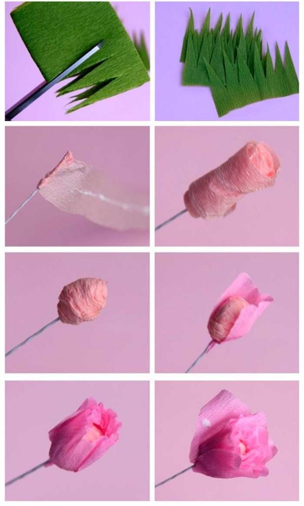 enfeites para jardim japones:Pedagógiccos: Rosa de papel crepom