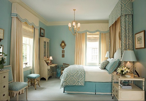 French style bedroom in light blue ~ Home Decorating Ideas