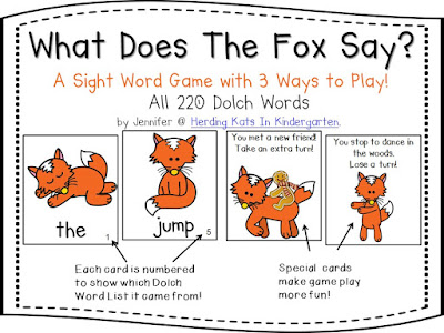 https://www.teacherspayteachers.com/Product/What-Does-The-Fox-Say-Sight-Word-Game-Dolch-Word-Lists-1-11-1041302