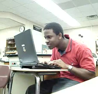 funny pictures black man with laptop