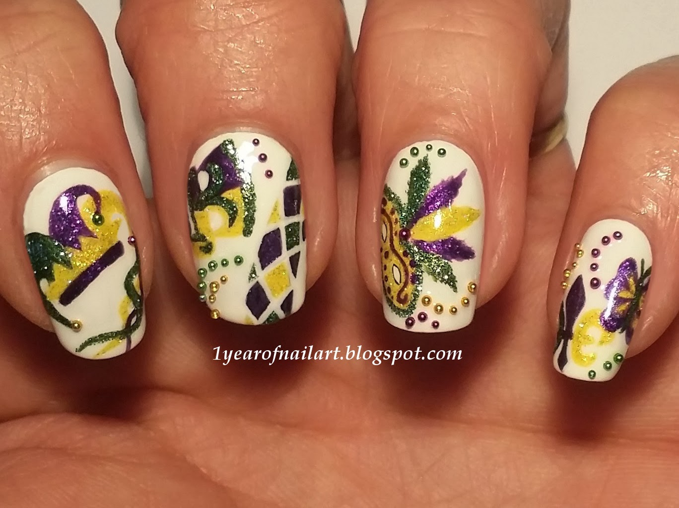 365+ days of nail art: Mardi Gras/Carnival nails