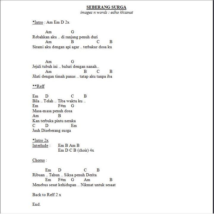 Lirik N Chord Sebrang Surga by Khianat