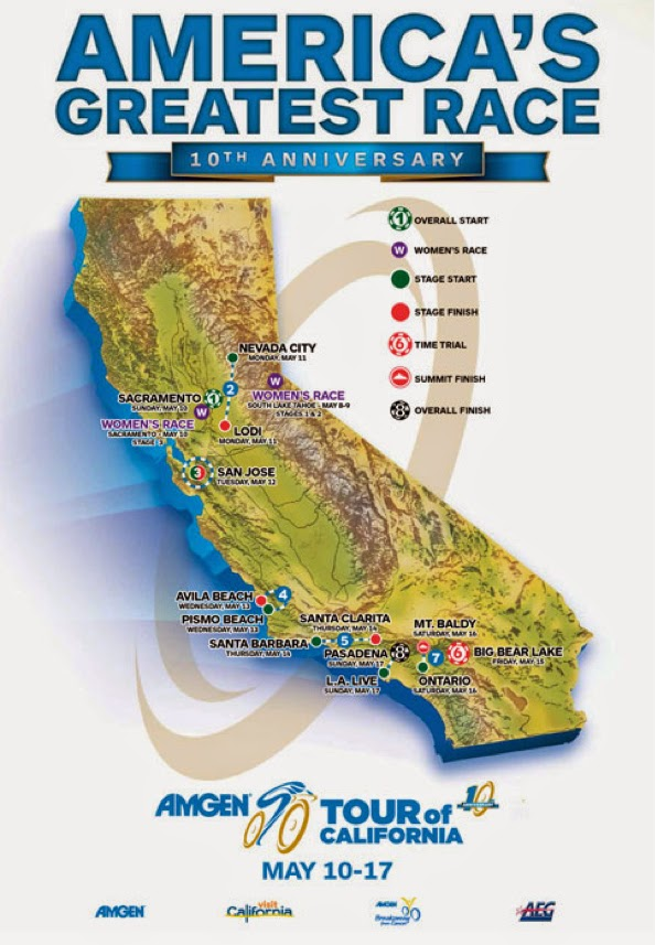 2015 Tour of California route map