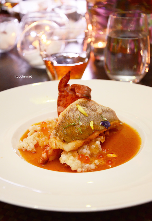 crispy skin snapper and lobster with crispy sago infused with saffron and lobster reduction