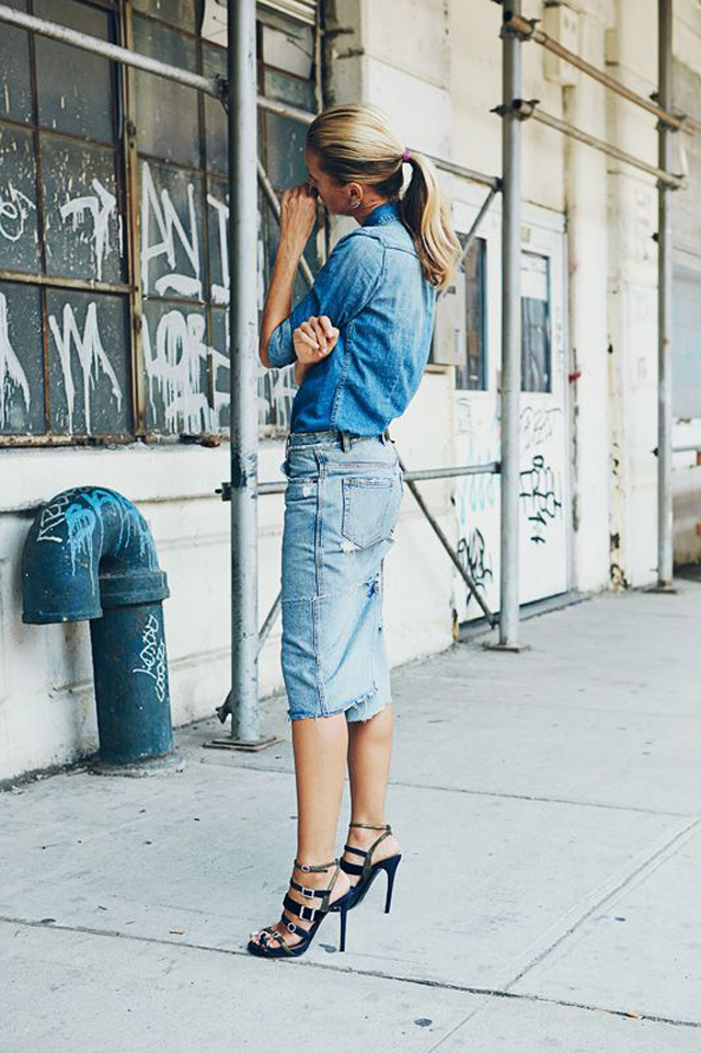 how to style denim on denim shirt and skirt, New York street style