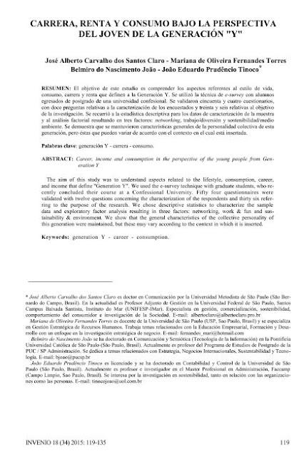 """Carrera, renta y consumo bajo la perspectiva del joven de la generación """"y"""""""