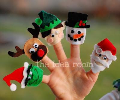 Dedoches natalinos de feltro com moldes
