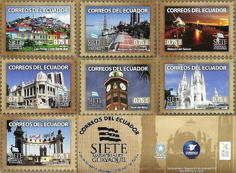 Sellos Postales 7 Maravillas de Guayaquil