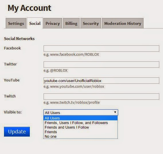 Unofficial Roblox How To Put Social Network Links On Your Roblox
