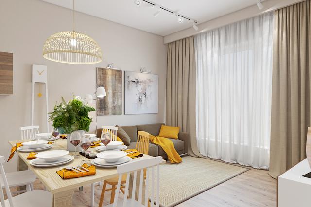 ruang makan dengan aksen warna kuning