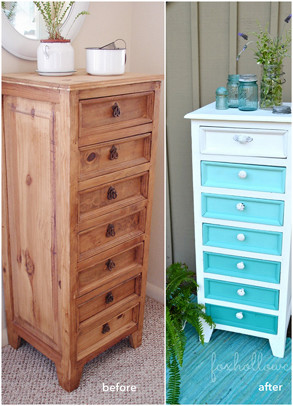 Painted nightstand drawers in gradient blue. if you loved painted furniture or are thinking about using Chalk paint on furniture for the first time then you should check this post full of 25 incredible makeoevers. 25 Fabulous painted furniture ideas!
