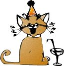 cartoon of cat wearing party hat with champagne glass