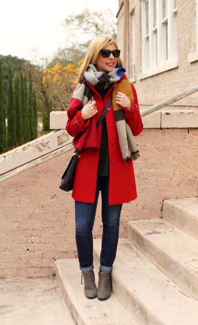 Red pea coat trench