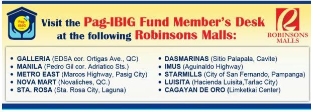 Pag-IBIG Fund Call Center and Pag-IBIG Member's Desk at Robinson's