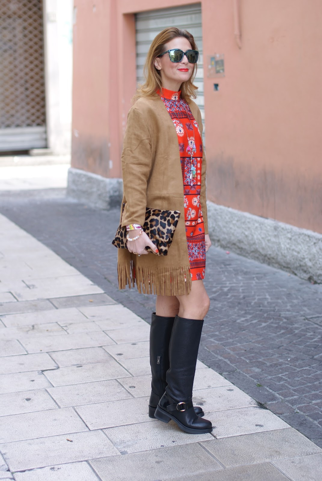 Suedette fringed coat from Yoins and Lorenzo Mari below the knee boots on Fashion and Cookies fashion blog, fashion blogger style