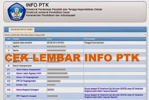 Cara Cek Online Lembar Info PTK Dikdas 2014/2015