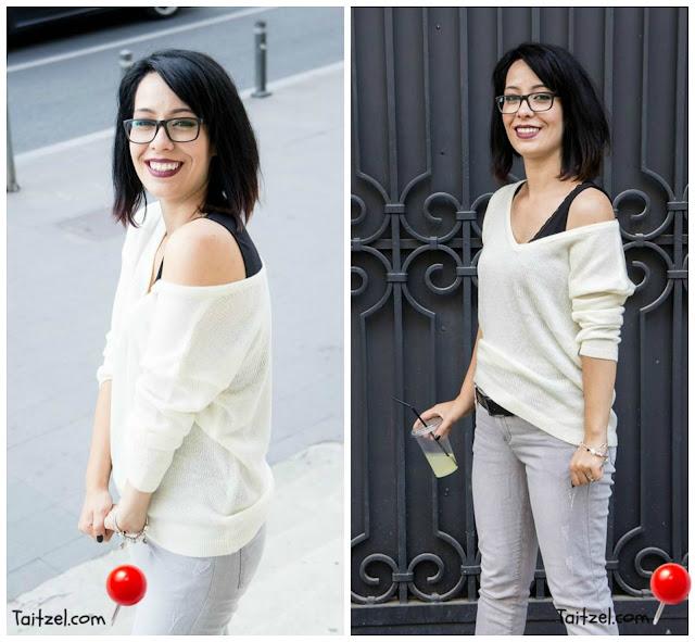 Tinuta de astazi : pulovar alb, jeans si tenisi ootd