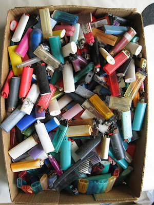 beach plastic lighters 5 - Beach Plastic Turned Art : Saving Our Oceans