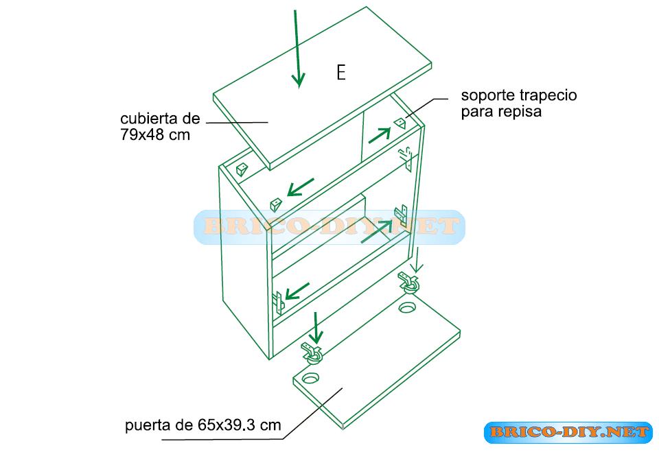 Mueble de cocina plano mueble bajo con puertas de melamina for Planos de bajo mesada de melamina