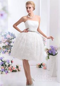 http://www.cocomelody.com/ball-gown-ivory-knee-length-strapless-lace-wedding-dress-cwzk13001.html