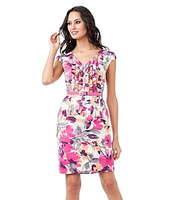 2011+Adrianna+Papell+Belted+Floral-Print+Dress