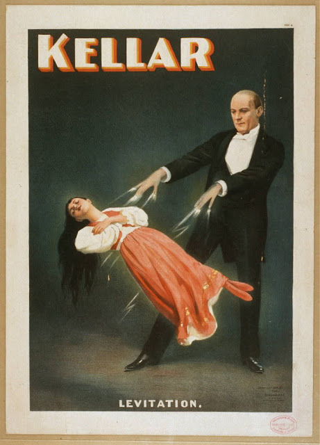 circus, classic posters, free download, graphic design, magic, movies, retro prints, theater, vintage, vintage posters, Kellar Levitation - Vintage Magic Poster